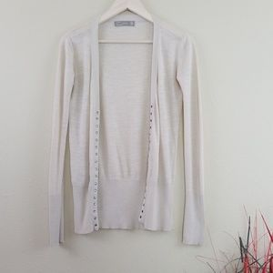 Zara Wome's Nude Button-Up V-Neck Cardigan